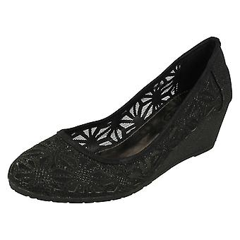 Ladies Spot On Meshed Wedge Shoes F9874