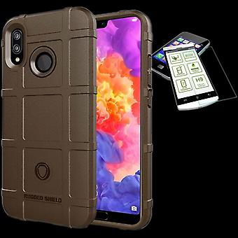 For Huawei P20 Pro shield case TPU silicone Brown + 0.26 mm 2.5 d H9 tempered glass bag case cover sleeve