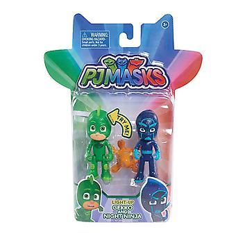 Pj Masks Light Up 2 Pack Hero & Villan - Gekko & Night Ninja