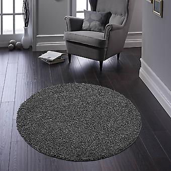 Buddy Washable Round Rugs In Charcoal