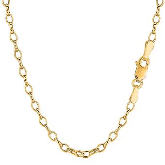 14k Yellow Gold Oval Rolo Link Chain Necklace, 3.2mm, 18