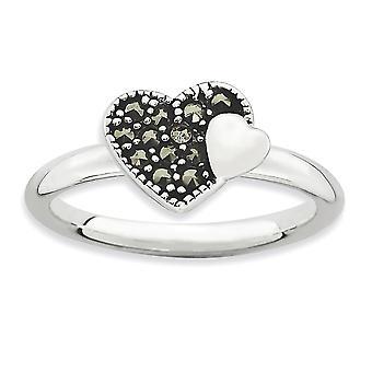 2,25 mm argento lucidato placcato in rodio impilabile espressioni Marcasite cuore anello - anello taglia: 5-10