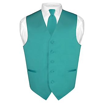 Men's Dress Vest & NeckTie Solid Neck Tie Set for Suit or Tuxedo