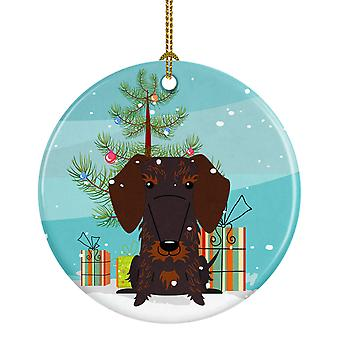Merry Christmas Tree Wire Haired Dachshund sjokolade keramiske Ornament