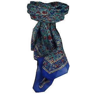 Azul de Affya de seda tradicional lenço quadrado amoreira por Pashmina & seda