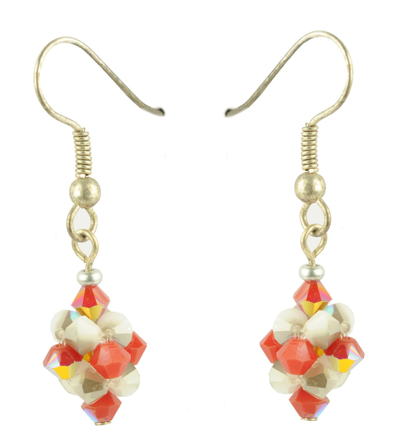 Waooh - jewelry - WJ0726 - earrings with Rhinestone Swarovski white red - mount silver