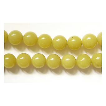 Strand 45+ Yellow Lemon Jade 8mm Plain Round Beads GS1638-3