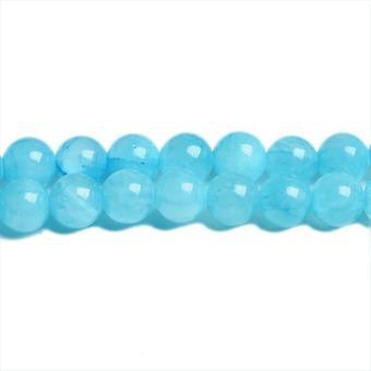 Deel 62 + blauwe Mashan Jade 6mm platte ronde kralen CB31421-2