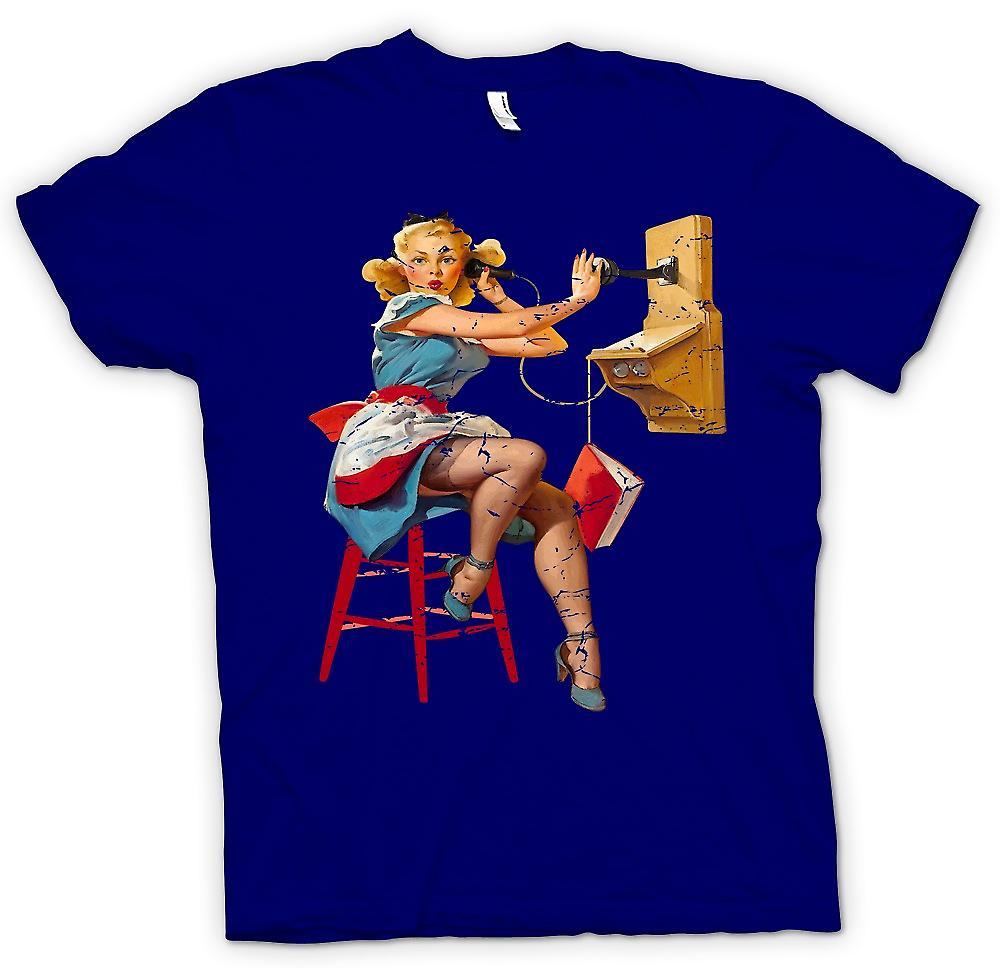 Mens T-shirt - Vintage Pin Up On The Telephone - Retro Design