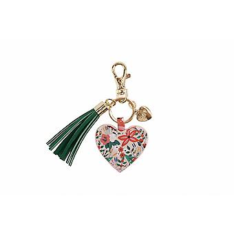 Painted & Pressed Heart Keyring