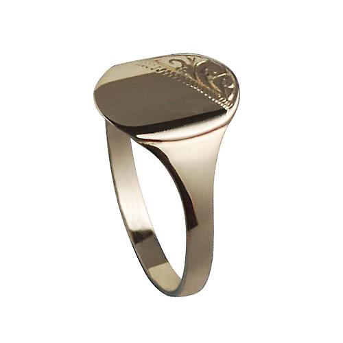 9ct Gold 13x11mm gents engraved oval Signet Ring Size W