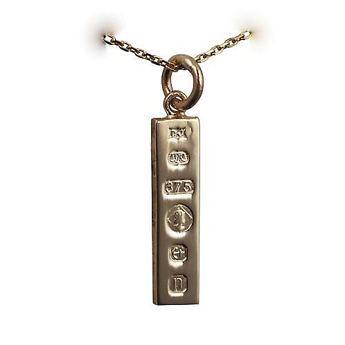 9ct Gold 22x5mm solid display hallmark Ingot Pendant with a cable Chain 16 inches Only Suitable for Children