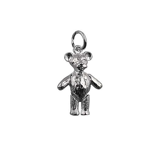 Silver 19x13mm moveable teddy bear Pendant or Charm