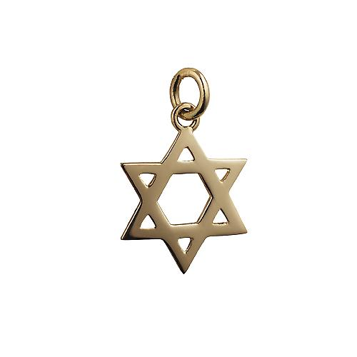 18ct Gold 18mm Star of David plain pendant