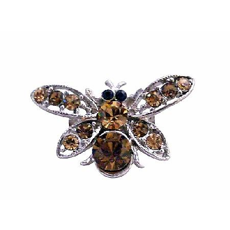 Dainty Gift Smoked Topaz Brown Classy Bumble Bee Brooch