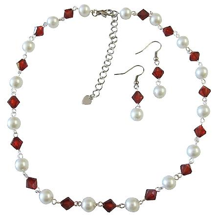 White Pearls Siam Red Chinese Red Crystals Round Bridal Jewelry Set