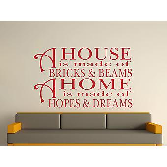 A House Is Made Of Bricks And Beams v2 Wall Art Sticker - Dark Red