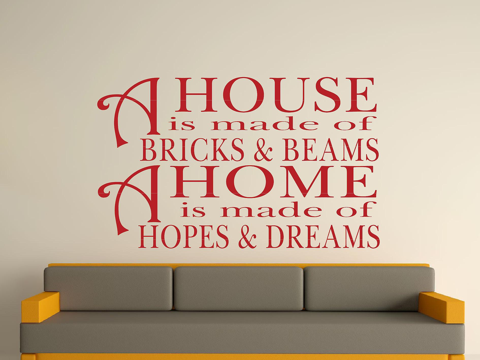 Een huis Is gemaakt van bakstenen en balken v2 Wall Art Sticker - Dark Red