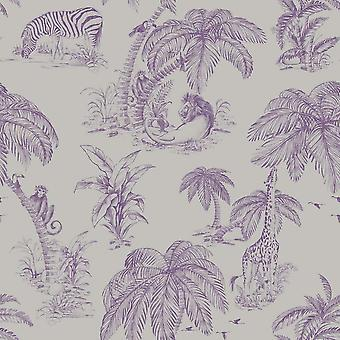 Floral dierlijke Print behang bomen Zebra Monkey Plum zilver Metallic Paste muur