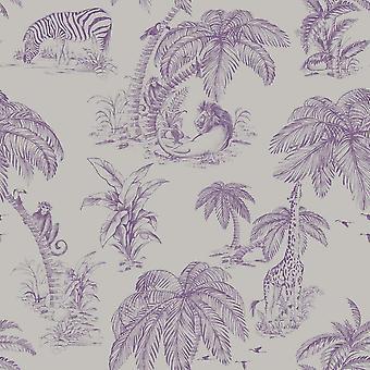 Floral Animal Print Wallpaper Trees Zebra Monkey Plum Silver Metallic Paste Wall