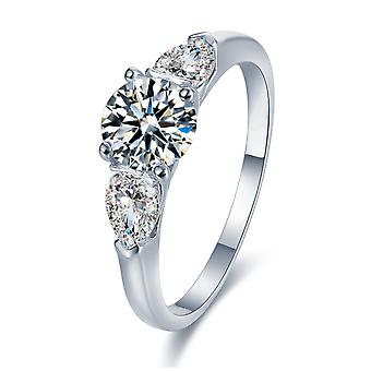 925 Sterling Silver Delicate Trilogy Engagement Ring