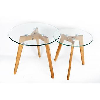 Set Of 2 Glass Top With Oak Legs Side Nest Tables Home Office Decoration