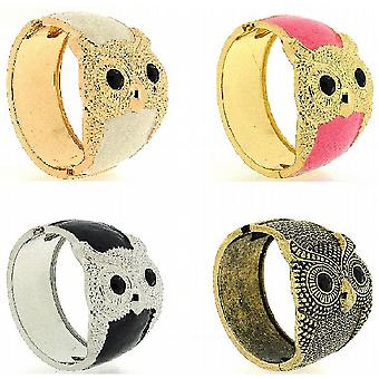 The Olivia Collection Pink Retro Vintage Goldtone Wide Cuff Owl Bangle FJ1171