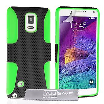 YouSave Samsung Galaxy Note 4 Tough Mesh Combo Silicone Case Green-Black