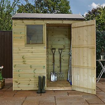 Mercia 6x4ft Shiplap Pressure Treated Reverse Apex Garden Shed with Windows and Mineral Roof Felting