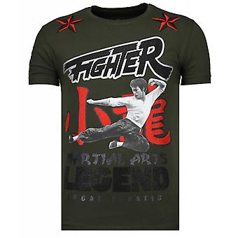 Fighter Legend-rhinestone T-shirt-khaki