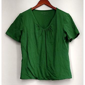 Susan graver top Essentials stretch korte mouw verzamelde detail groen A214179