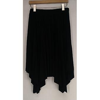 WDNY Skirt Faux Suede Pleat w/ Stretch Waist Black Womens A426854