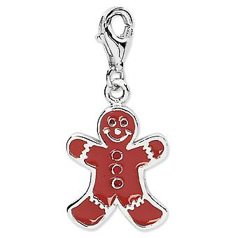 925 Sterling Silver Rhodium-plaqué Fancy Lobster Closure Enamel Gingerbread Man With Lobster Clasp Charm - Measures 27x1