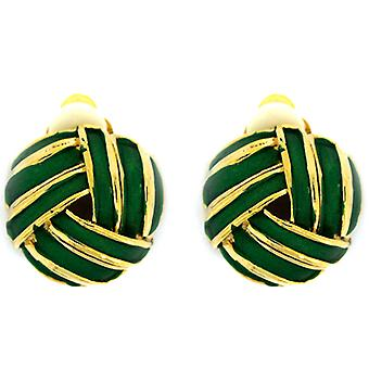 Clip On Earrings Store Green Enamel & Gold Plated Round Knot Clip On Earrings