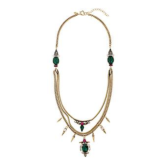 Martine Wester Cosmic Statement Multi Chain & Crystal Spiky Necklace