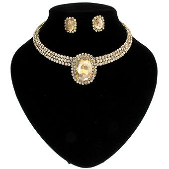 Topaz Gold Diamante Crystal 3 Row Oval Choker Necklace Earrings Set