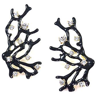 Kenneth Jay Lane Antique Crystal and Black Coral Branch Earrings