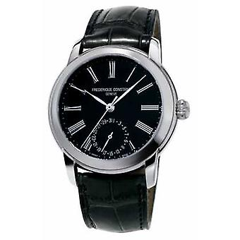 Frederique Constant Mens Classic Manufacture Black Leather Strap Black Dial FC-710MB4H6 Watch