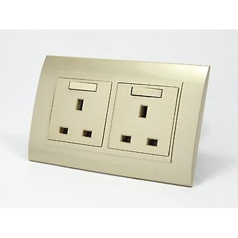 I LumoS AS Luxury Gold Plastic Arc Double 45A Switch with Switched 13A UK Socket
