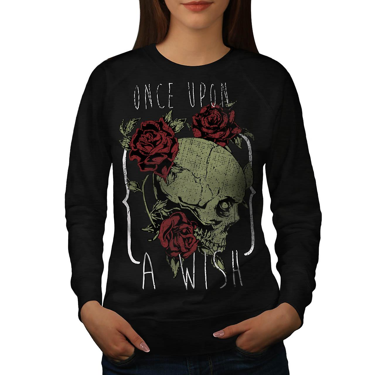 Once Upon Death Wish Ghost Love Women Black Sweatshirt | Wellcoda