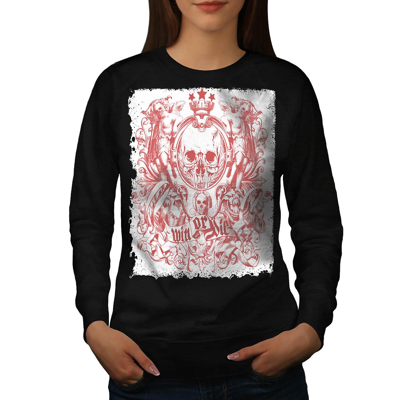 Win Die Death Skull Royal Crown Women Black Sweatshirt | Wellcoda