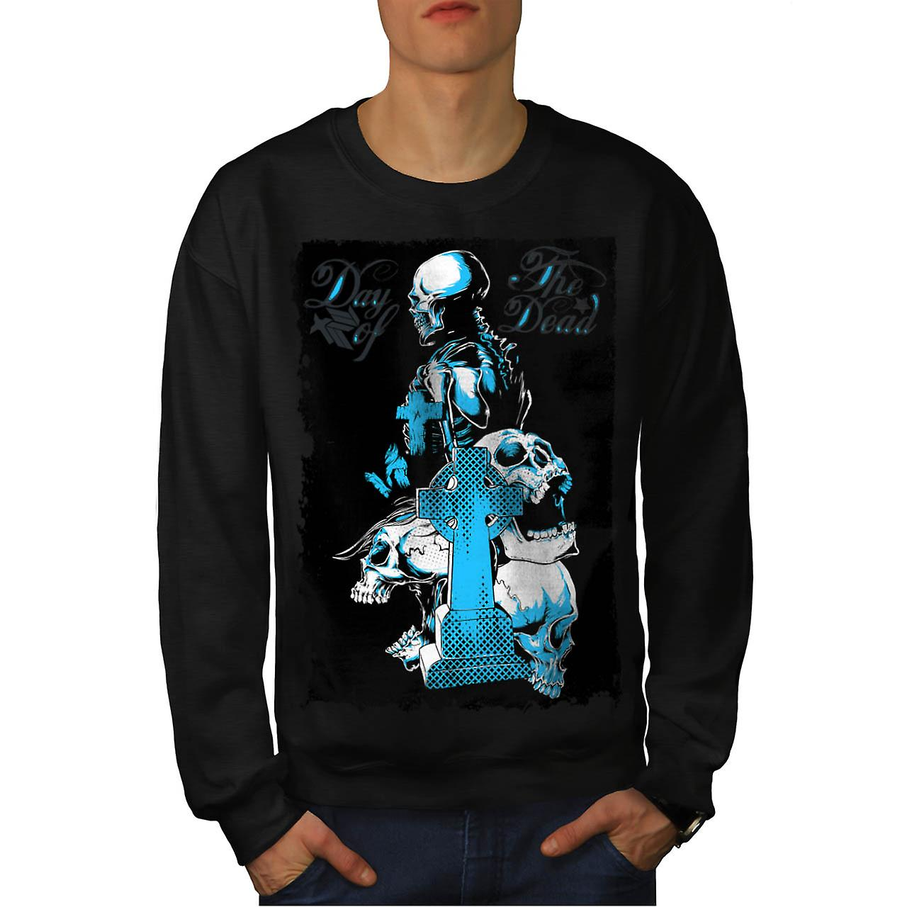 Dead Day Grave Yard Skull Tomb Men Black Sweatshirt | Wellcoda