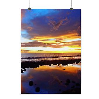 Matte or Glossy Poster with Water Sea Sun Set Nature Sea Shore | Wellcoda | *q1012