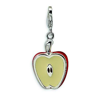 3-d argento Sterling smaltato Apple metà con astice Clasp fascino - 4,0 grammi - misure 30x13mm