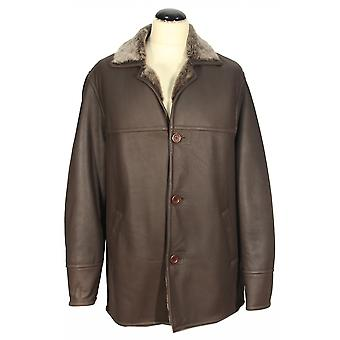Roero - cuir d'agneau Tuscany hommes manteau fourrure collier manteau long marron leather
