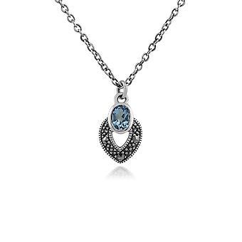 Gemondo Sterling Silver Art Deco Aquamarine & Marcasite Necklace