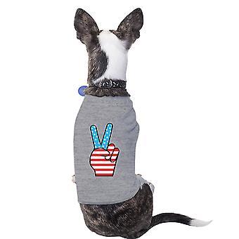 Peace Sign American Flag Grey Small Dog Shirt Cute Design Pet Shirt