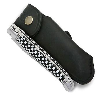 Laguiole knife with checkerboard Cristallium handle with leather sheath Direct from France
