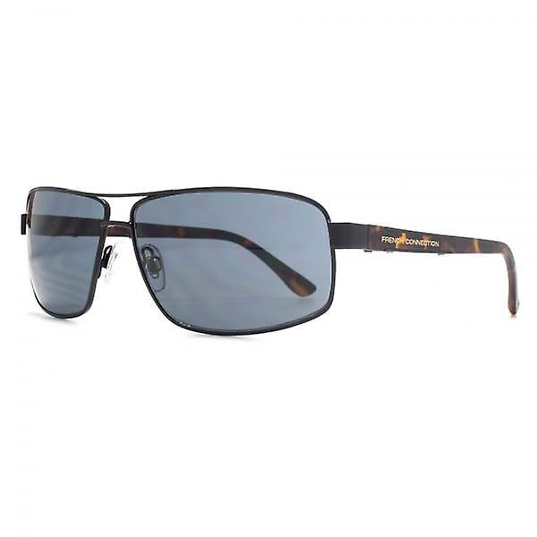 French Connection Rectangle Aviator Sunglasses In Black Tortoise