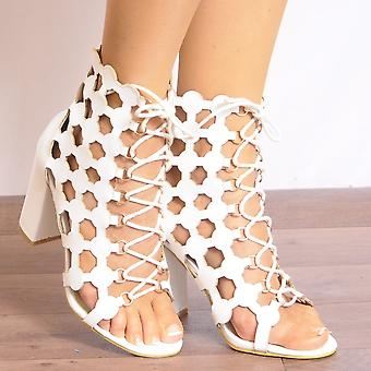 Koi Couture White Lace Up Heels - Ladies Db55 Caged Lace Ups Peep Toes Strappy Sandals High Heels